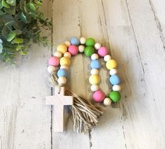 Wooden Bead Garland with Wood Cross, Easter Garland, Farmhouse Beads Wood Bead Garland, Beaded Garland, Garlands, Easter Garland, Easter Decor, Christmas Signs Wood, Easter Cross, Wood Crosses, Etsy Christmas