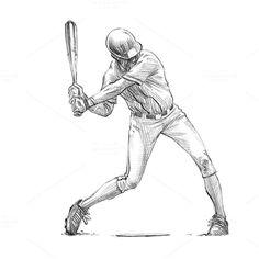 Sketchy baseball drawing set by RasterBird on @creativemarket