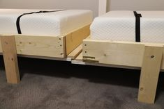 """Need a bed (or two) but don't have space for another permanent """"bedroom?"""" Is your old college futon/hand-me-down guest bed/blow-up mattress no longer cutting it? We have a solution -- DIY your own Murphy bed! Check out our project and get inspired! Murphy Bed Kits, Build A Murphy Bed, Murphy Bed Plans, Murphy Beds, Simple Bed Frame, Diy Bed Frame, Queen Bed Plans, Timber Frame Cabin, Playhouse Bed"""