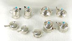 Navajo Handmade Sterling Silver and Turquioise Miniature Pots and Pans