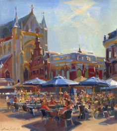 City Painting, House Painting, Cityscape Art, Building Art, Impressionist Paintings, Art Oil, Artist At Work, City Scapes, Holland