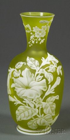 Green Cameo Glass Vase, Art Nouveau glass, Flared