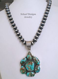 Pilot Mountain Turquoise Cluster Pendant on Navajo Pearls at Schaef Designs