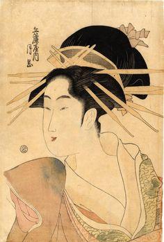 鳥高斎栄昌: Portrait of the courtesan Tsukioka of Hyogo-ya - Japanese Art Open Database