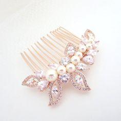 Rose Gold Bridal hair comb Pearl Wedding hair comb by treasures570