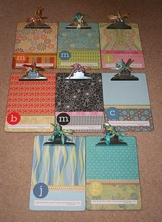 Mod podge scrapbooking paper! You can get clipboards from the dollar tree! How easy and cute!