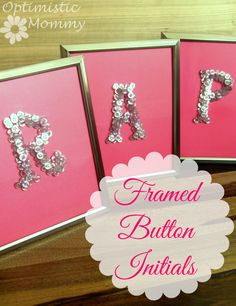 Button Crafts - Framed Initials Decor | Optimistic Mommy