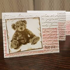 Thanks to those who voted on their favourite bear placement, and because it was so hard to choose from those 4, I decided to do a hybrid option! They're ready for the card swap and I can't wait to see the other amazing cards that I'll be getting! 😃    #cardswap #stampinup #babybearstampset #handmadewithlove #handstamped #handmade #valentinesdaycard #papercraft #cardmaking #diy #threestepstamping #metime #stressrelief #creativeoutlet