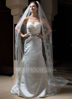Cathedral Bridal Veils Tulle One-tier Oval Drop Veil Lace Applique Edge Applique 114.17 in (290cm) White Ivory White Spring Summer Fall Winter A-line/Princess Ball Gown Empire Sheath Mermaid Color & Style representation may vary by monitor 0.25 kg 0.3 kg