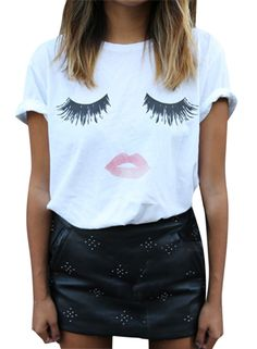 Tee is a summer fashion essential. It is well design with eyelash and lip graphic. Come to AZBRO.COM to buy it.