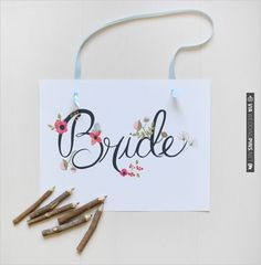 hand painted bride sign by Life Loft Press | CHECK OUT MORE IDEAS AT WEDDINGPINS.NET | #printableweddingtemplates