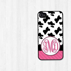 Personalized iPhone 4 Case Black and White Cow Print by BeeCovered, $15.99