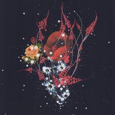 marine animals and flowers, dark blue