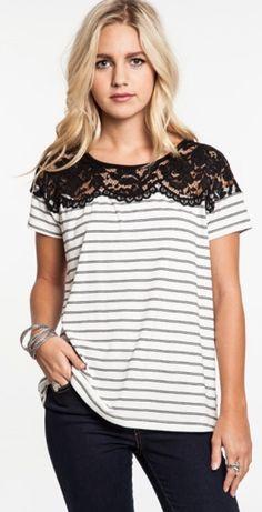 Stripes & Lace Top #JessLeaBoutique