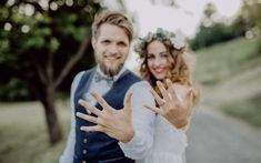 Bride and groom with wedding rings in nature. by halfpoint. Beautiful young bride and groom with wedding rings outside in green nature. Wedding Picture Poses, Wedding Poses, Wedding Shoot, Wedding Couples, Wedding Day, Wedding Rings, Church Wedding, Wedding Veils, Wedding Beauty