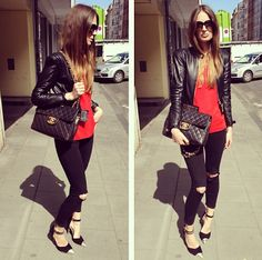 leather, ripped jeans, ladylike bag.