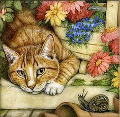 cat, flowers and snail