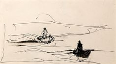 ANDREW WYETH American, 1917 - 2009 Hunters in Boats, Maine  Pen and ink on paper Sight: 4¼ x 8¼ inches (12 x 21 cm); sheet 4½ x 8¾ inches (11.5 x 22.2 cm)