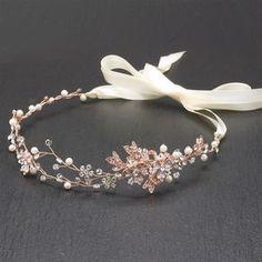 Handmade Bridal Headband with Painted Gold Rose Vines