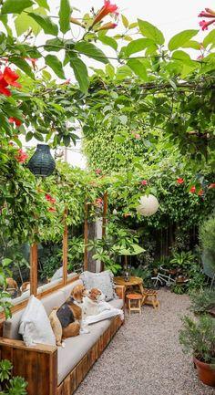 Puede ser un lugar libre en el patio de tu casa, en una terraza, balcón o incluso una esquina de tu departamento en donde quisieras poner una serie de macetas para hacerlo más confortable y alegre. #jardincasapequeña #jardinespaciochico #jardinesideas Small Courtyard Gardens, Small Courtyards, Small Back Gardens, Small Backyard Landscaping, Small Patio, Landscaping Ideas, Narrow Backyard Ideas, Small Garden Design, Patio Design