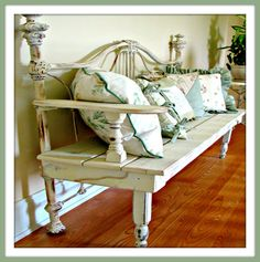 Old iron headboard into a bench. I WILL be making this one day once I have a house.