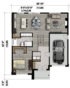 Plan image used when printing Narrow House Plans, Garage House Plans, Family House Plans, Small House Plans, House Floor Plans, Br House, Duplex House, House Front, Contemporary House Plans