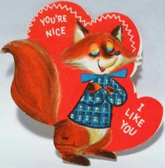 J1661 60s Sharp Dressed Fox! Vintage Diecut Valentine Card