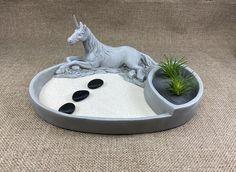 Unicorn Zen Garden Planter, Mini Zen Garden Tray, Zen Sand Garden With Unicorn Planter, Desktop Zen - Garden Miniature