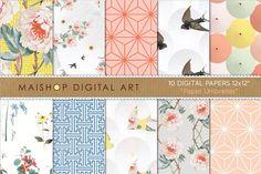 Digital Paper - Paper Umbrellas by Maishop on @creativemarket