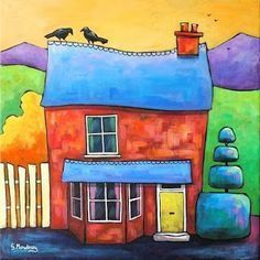 UK ~ Gillian Mowbray ~ Crow Cottage, one of a series of quirky cottages. Colorful Art, Art Painting, Art Images, Naive Art, Art Projects, Painting Inspiration, Painting, Whimsical Art, Art