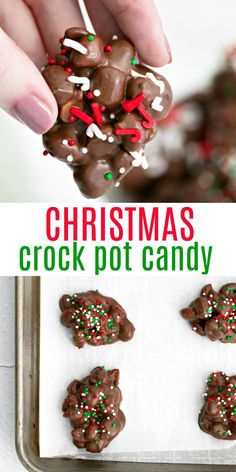 It's a chocolate candy recipe you can make in your slow cooker! Use this easy Crock Pot Candy recipe to create your own customized sweet treats with just a few pantry friendly ingredients. Chocolate Melting Wafers, White Chocolate Bark, Chocolate Candy Recipes, Slow Cooker Recipes Dessert, Sweets Recipes, Fudge Recipes, Cookie Recipes, Christmas Candy, Christmas Treats