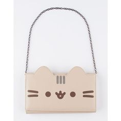 Pusheen Chain Wallet ($20) ❤ liked on Polyvore featuring bags, wallets, white wallet, chain wallet, chain bag, folding wallet and foldover bags
