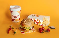 Brandon Archibald - Chicken Cafe - World Brand Design Society / Client: New cafe offering fast-food mostly done from chicken and eggs.Challenge: The design of logo, corporate identity, printed goods, branded elements and also the interior branding. Food Branding, Food Packaging Design, Branding Design, Corporate Branding, Fast Food Addiction, Homemade Churros Recipe, Burger Packaging, Chicken Store, Chicken Brands