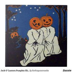 Jack O' Lantern Pumpkin Ghost Costume Tile - Boo! Its Halloween. Retro Halloween, Halloween Themes, Fall Halloween, Happy Halloween, Halloween Quotes, Halloween Tumblr, Vintage Halloween Cards, Halloween Witches, Arte Indie