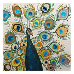 Found it at Joss & Main - 'Peacock Metallic Pearl' by Eli Halpin Painting Print on Wrapped Canvas