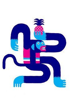 Levi Jacobs - Monkey with pineapple - www.levijacobs.nl