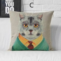 Pop art leopard decorative throw pillows hand painted animal cat sofa cushions