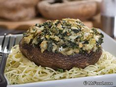 Portabella Mushrooms stuffed with spinach and artichokes -