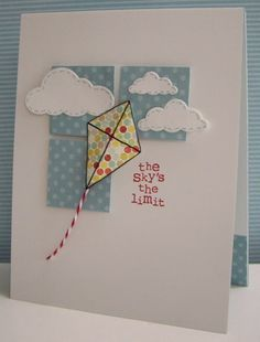 The Sky IS the limit for where this handmade congratulations card can take you! The kite is the focal point, with interesting sky and cloud background. I like the stripe of sky paper that shows on the inside of the card. Scrapbook Bebe, Scrapbook Cards, Inchies, Leaving Cards, Good Luck Cards, Kids Cards, Baby Cards, Cute Cards, Creative Cards