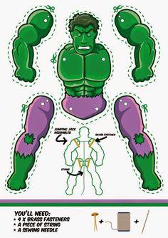 Hulk movible para Imprimir Gratis. | Ideas y material gratis para fiestas y celebraciones Oh My Fiesta!