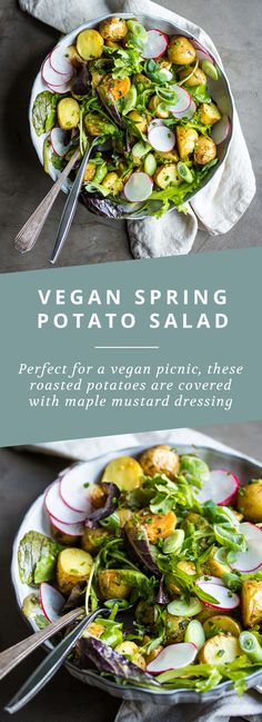 Vegan Potato Salad with Maple Mustard Dressing ~ Here's a super delicious vegan potato salad, that's absolutely perfect for a summer picnic! The potatoes are roasted to add just a bit more texture before being tossed in a rich, maple mustard dressing.