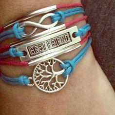 New blue & pink best friend  infinity Bracelet  New  bracelet with chain adjustable  Accessories