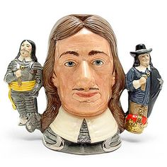 Royal Doulton Large Character Jug, Oliver Cromwell D6968 (Two handled Jug), Large