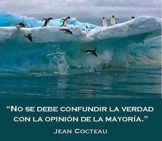 No se debe confundir la verdad con la opinión de la mayoría. Jean Cocteau