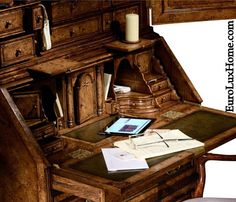 Queen Anne style carved desk by Jonathan Charles looks like it should be in a Charles Dickens novel! EuroLuxHome.com