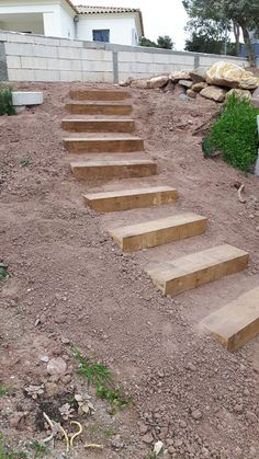 Building Garden Steps Home Amp Food Garden Steps Garden Stairs Sloped Backyard Landscaping, Sloped Yard, Landscaping Retaining Walls, Landscaping Ideas, Retaining Wall Steps, Landscape Stairs, Landscape Design, Landscape Architecture, House Landscape