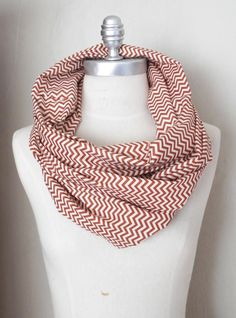 Infinity Scarf Chevron Pattern Burnt Orange and White Cotton Fabric Loop  Scarf, Zig Zag Print dfcb1f82653