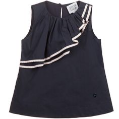Girls sleeveless, navy blue blouse by Armani Junior in a silky cotton with a soft viscose lining. The top has layered, pleated, ruffles with pink trim, which has a feminine curve from shoulder to waistline. On the side there is a heart shaped logo stud and it has a button fastener at the back, for easier changing.<br /> <ul> <li>72% cotton, 25% polyester, 3% elastane (soft & silky)</li> <li>Lining: 100% viscose (super soft feel)</li> <li>Machine wash (30*C)</li> <li>True to size fi...