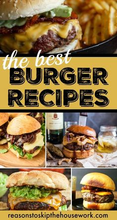 Burger Recipes are so easy to jazz up and make unique. These 10 Burger Recipes are the perfect grilling meal for dinner tonight! Hot Dog Recipes, Burger Recipes, Meat Recipes, Cooking Recipes, Burger Ideas, Burger And Fries, Good Burger, Burger Bar, Gourmet Burgers