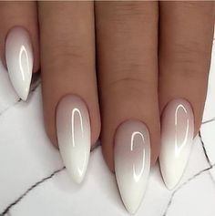 nude and white ombre nail polish, cute easy nail designs, long stiletto nails Do you get overwhelmed when choosing you manicure? We have gathered 100 best nail designs suitable for every nail shape to help you choose your favourite. Long White Nails, White Nail Art, Long Nails, Nail Art Designs Images, Ombre Nail Designs, Stylish Nails, Trendy Nails, Cute Simple Nails, Cute Summer Nails
